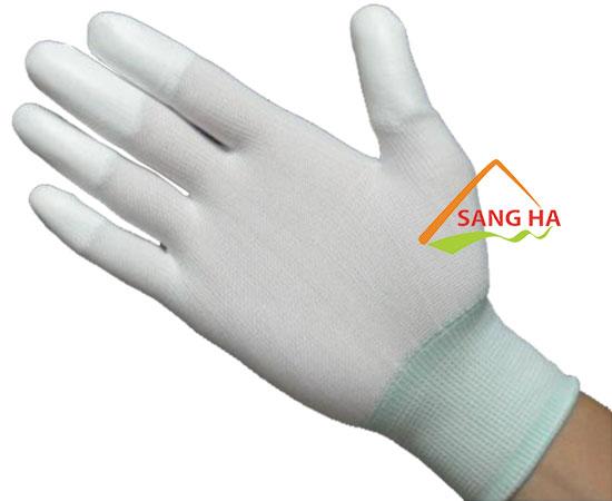 Găng tay phòng sạch thun trắng phủ PU đầu ngón