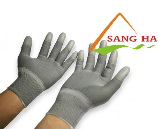 Găng tay phòng sạch thun xám phủ PU đầu ngón