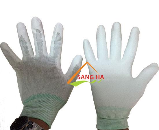 Găng tay phòng sạch thun trắng phủ PU lòng bàn tay