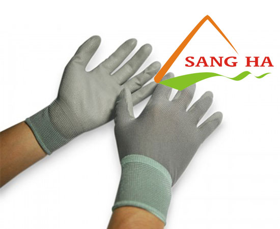 Găng tay phòng sạch thun xám phủ PU lòng bàn tay