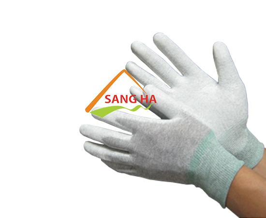 Găng tay chống tĩnh điện thun trắng phủ PU lòng bàn tay