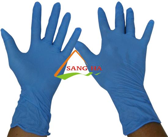 Găng tay y tế Nitrile Malaysia màu xanh