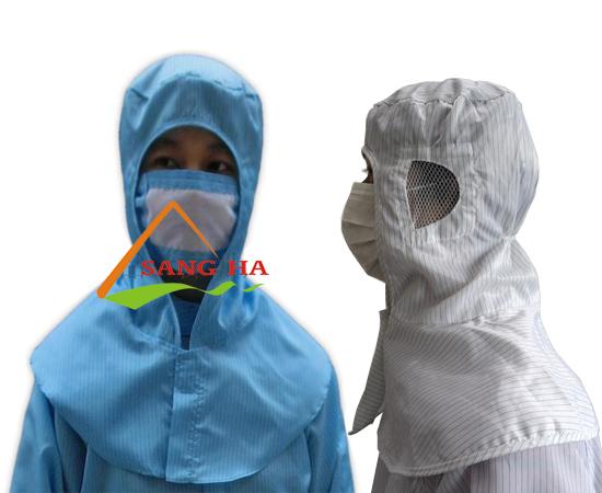Nón mũ phòng sạch chống tĩnh điện liền khăn choàng