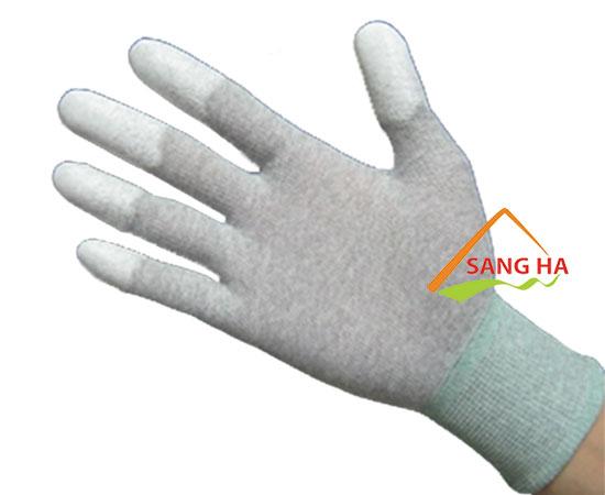 găng tay chống tĩnh điện thun trắng phủ pu đầu ngón