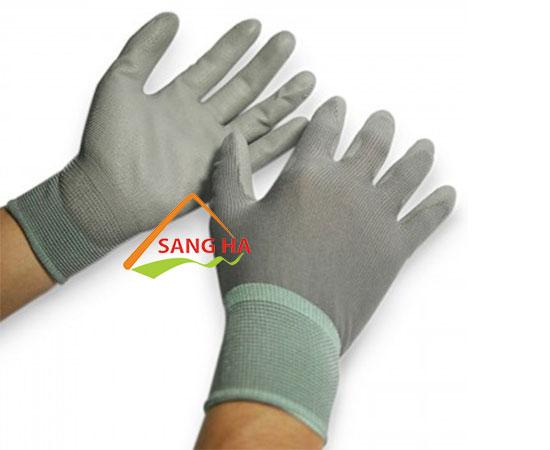 găng tay phủ pu lòng bàn tay phòng sạch thun xám