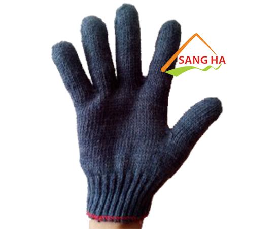 Găng tay sợi len màu đen 40g