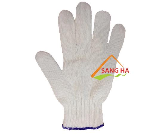 Găng tay sợi len màu trắng 40g