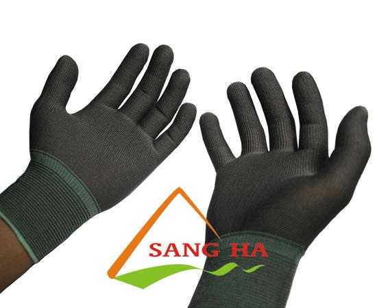 găng tay phòng sạch vải thun xám không phủ