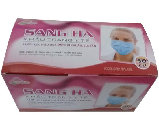 Khẩu trang y tế màu hồng 4 lớp SANG HÀ