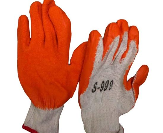 Bao tay sợi phủ cao su màu cam s-999