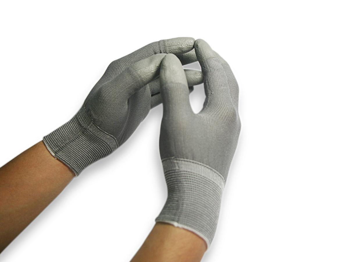 Găng tay phủ pu màu xám ngón