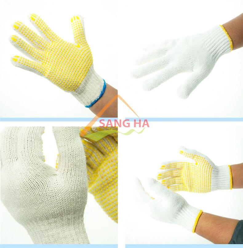Găng tay phủ hạt nhựa màu vàng